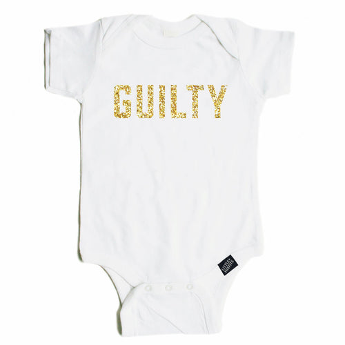 Guilty - Sparkle / Glitter Baby Onesie - Black or White-onesie-baby-Little Misfits-tattoo-sleeves-trendy-baby-clothes-for-boys-girls-toddler