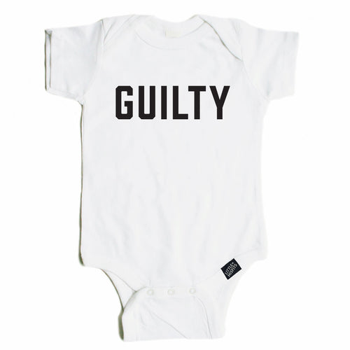 Guilty - Unisex Baby Onesie - Black or White-onesie-baby-Little Misfits-tattoo-sleeves-trendy-baby-clothes-for-boys-girls-toddler