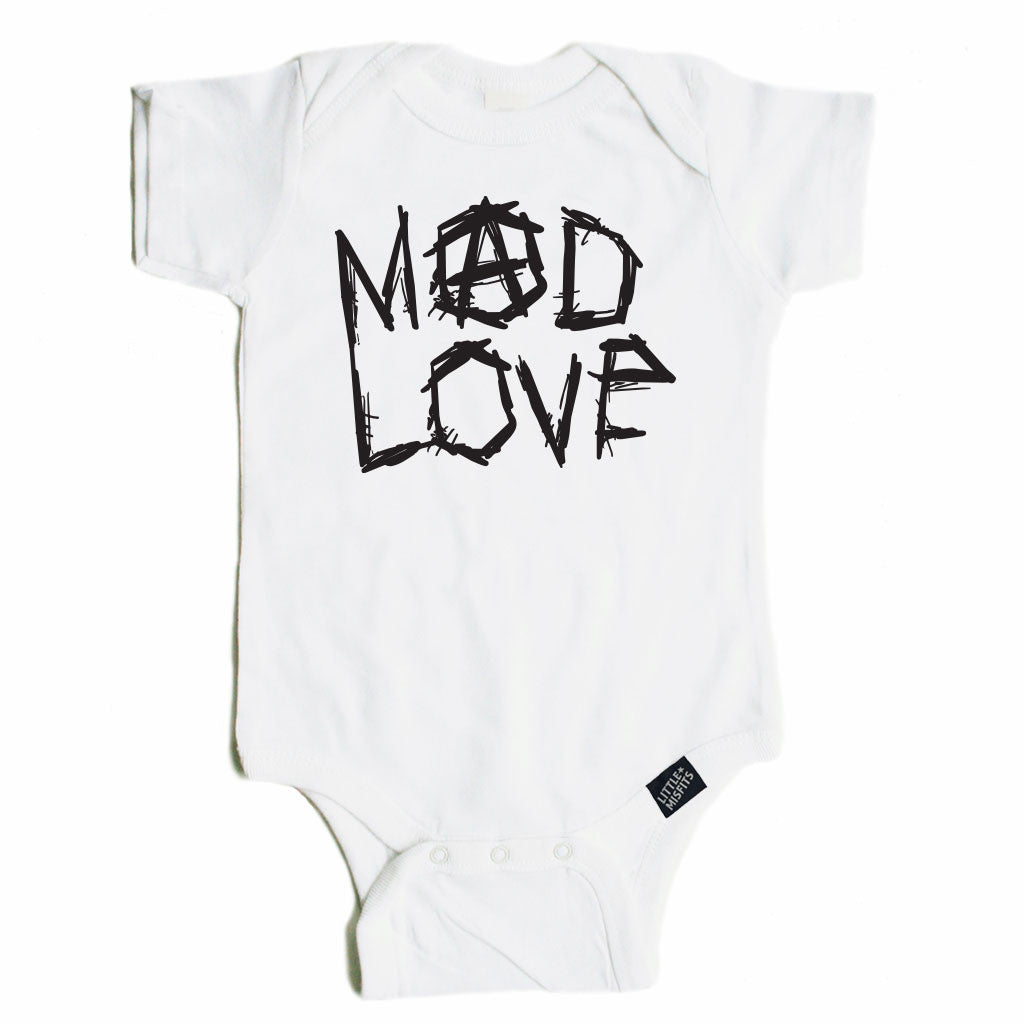 Mad Love - Monochrome Baby Onesie - Black or White-onesie-baby-Little Misfits-tattoo-sleeves-trendy-baby-clothes-for-boys-girls-toddler