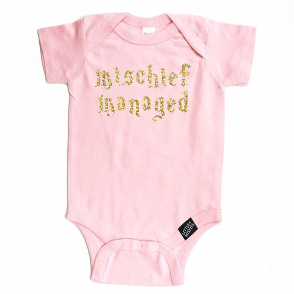Mischief Managed - Baby Onesie - Pink-onesie-baby-Little Misfits-tattoo-sleeves-trendy-baby-clothes-for-boys-girls-toddler