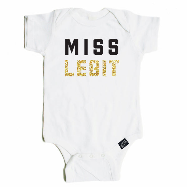 Miss Legit - Sparkle / Glitter Baby Onesie - Black or White-onesie-baby-Little Misfits-tattoo-sleeves-trendy-baby-clothes-for-boys-girls-toddler