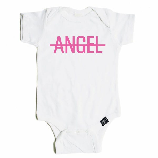 No Angel - Monochrome Baby Onesie - Black or White-onesie-baby-Little Misfits-tattoo-sleeves-trendy-baby-clothes-for-boys-girls-toddler
