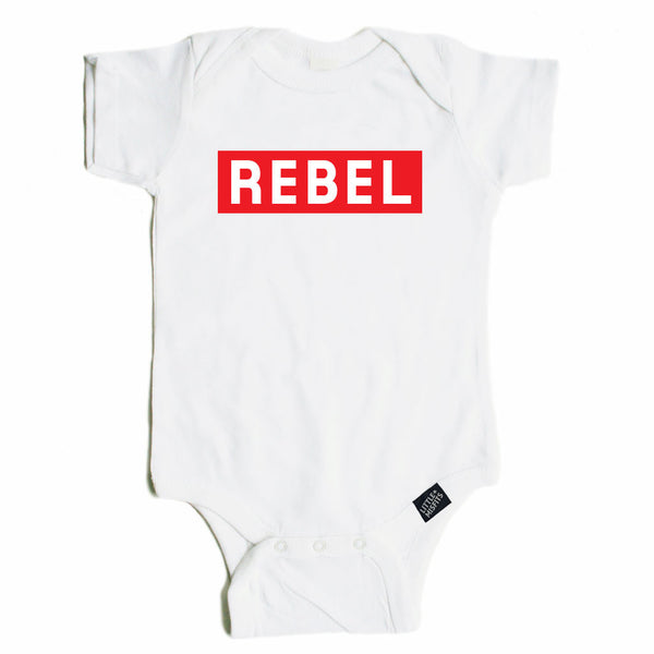 Rebel Baby Onesie - Red-onesie-baby-Little Misfits-tattoo-sleeves-trendy-baby-clothes-for-boys-girls-toddler