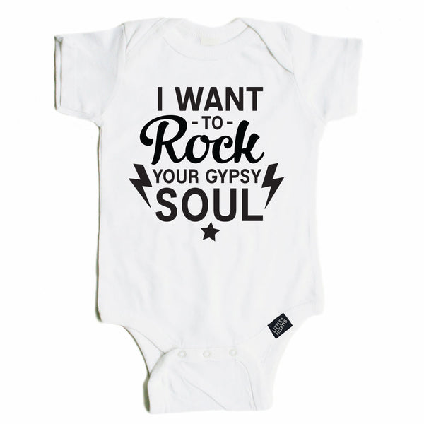 I Want To Rock Your Gypsy Soul - Monochrome Baby Onesie - Black or White-onesie-baby-Little Misfits-tattoo-sleeves-trendy-baby-clothes-for-boys-girls-toddler