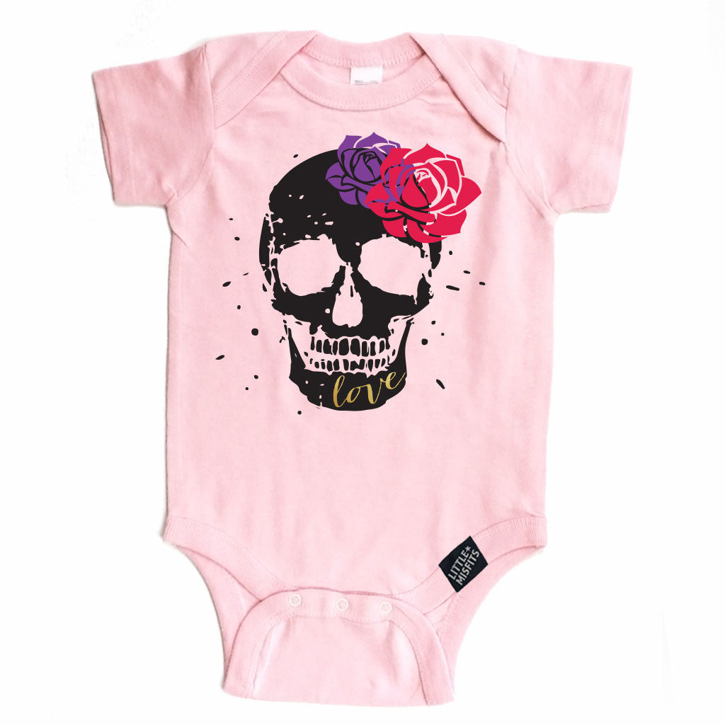Sugar Skull & Flowers - Baby Onesie - Pink-onesie-baby-Little Misfits-tattoo-sleeves-trendy-baby-clothes-for-boys-girls-toddler
