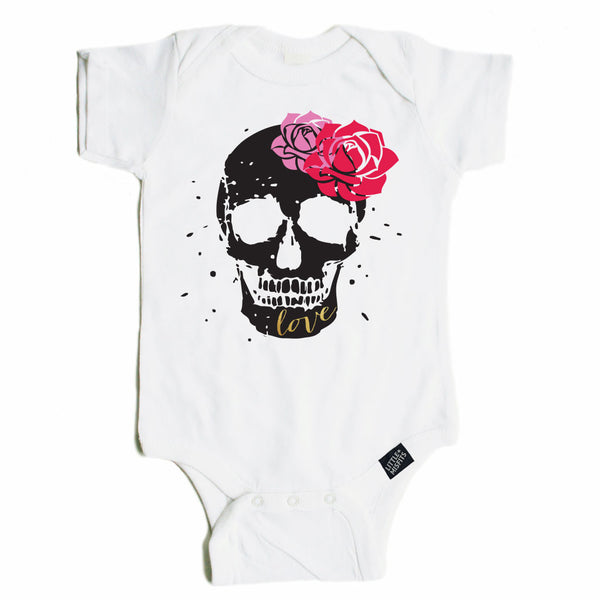 Sugar Skull & Flowers - Baby Onesie - Black or White-onesie-baby-Little Misfits-tattoo-sleeves-trendy-baby-clothes-for-boys-girls-toddler