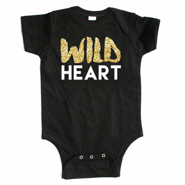 Wild Heart - Sparkle / Glitter Baby Onesie - Black or White-onesie-baby-Little Misfits-tattoo-sleeves-trendy-baby-clothes-for-boys-girls-toddler