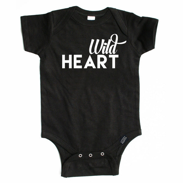 Wild Heart - Monochrome Baby Onesie - Black or White-onesie-baby-Little Misfits-tattoo-sleeves-trendy-baby-clothes-for-boys-girls-toddler