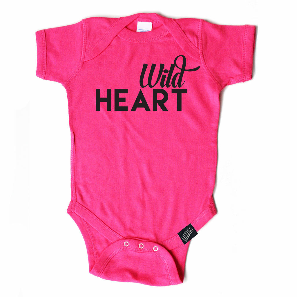Wild Heart - Monochrome Baby Onesie - Hot Pink-onesie-baby-Little Misfits-tattoo-sleeves-trendy-baby-clothes-for-boys-girls-toddler