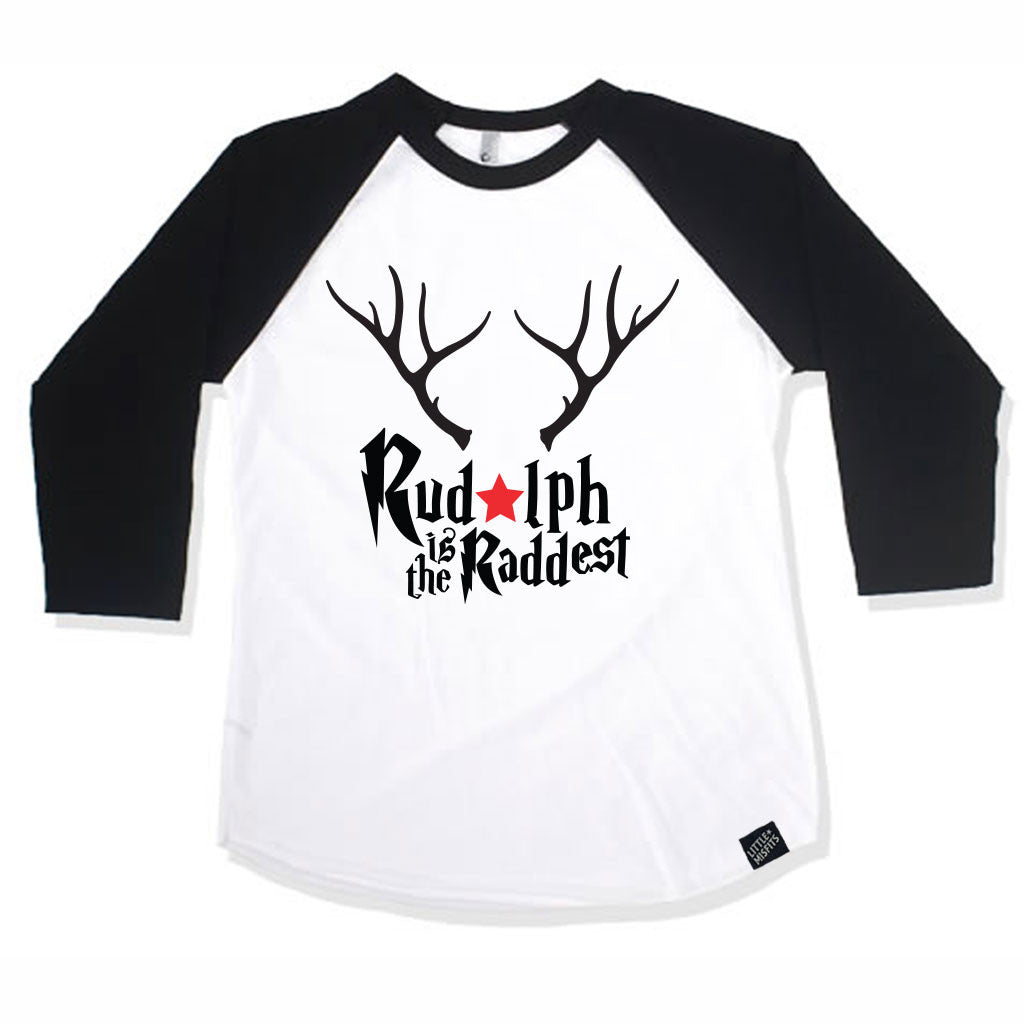 Rudolph is the Raddest Baby Raglan - Baby Baseball Shirt-onesie-baby-Little Misfits-tattoo-sleeves-trendy-baby-clothes-for-boys-girls-toddler