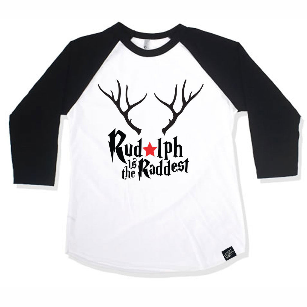 Rudolph is the Raddest Adult (Unisex) Raglan - Baseball Shirt-onesie-baby-Little Misfits-tattoo-sleeves-trendy-baby-clothes-for-boys-girls-toddler