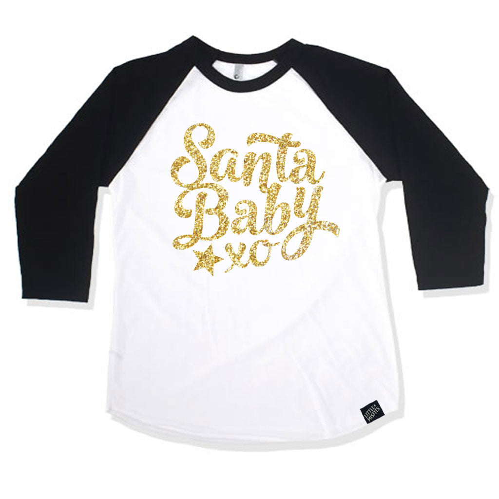 Santa Baby Raglan - Baby Baseball Shirt-onesie-baby-Little Misfits-tattoo-sleeves-trendy-baby-clothes-for-boys-girls-toddler