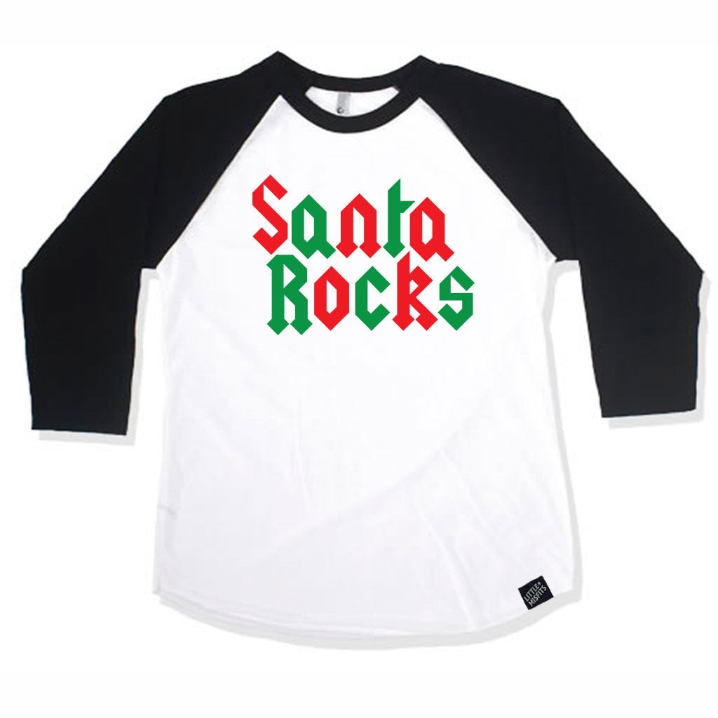 Santa Rocks Adult (Unisex) Raglan - Baseball Shirt-onesie-baby-Little Misfits-tattoo-sleeves-trendy-baby-clothes-for-boys-girls-toddler