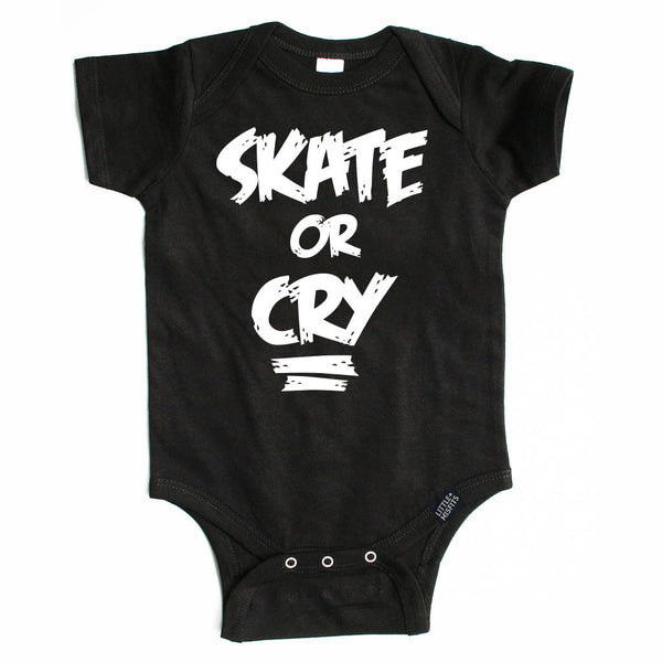 Skate or Cry Onesie-onesie-baby-Little Misfits-tattoo-sleeves-trendy-baby-clothes-for-boys-girls-toddler