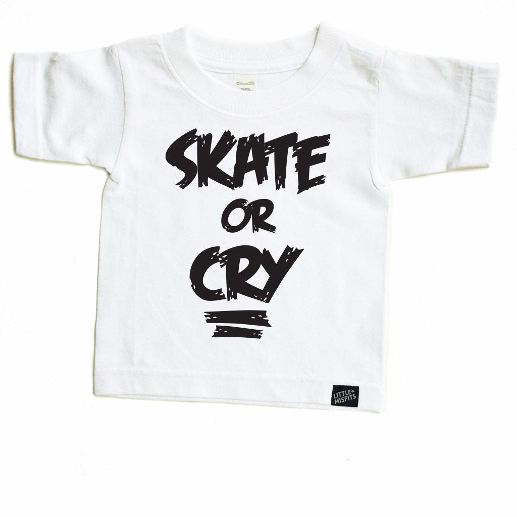 Skate or Cry Toddler Tee-onesie-baby-Little Misfits-tattoo-sleeves-trendy-baby-clothes-for-boys-girls-toddler