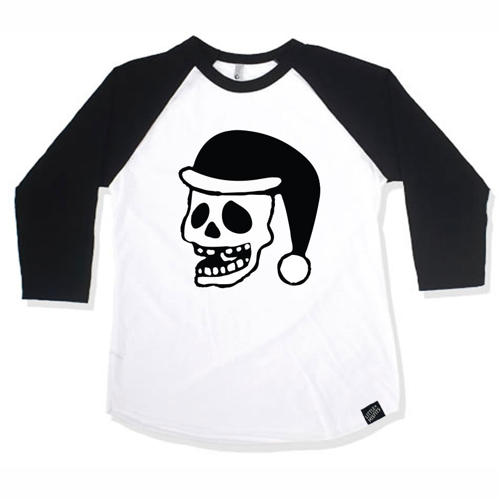 Christmas Skull Santa Baby Raglan - Baby Baseball Shirt-onesie-baby-Little Misfits-tattoo-sleeves-trendy-baby-clothes-for-boys-girls-toddler