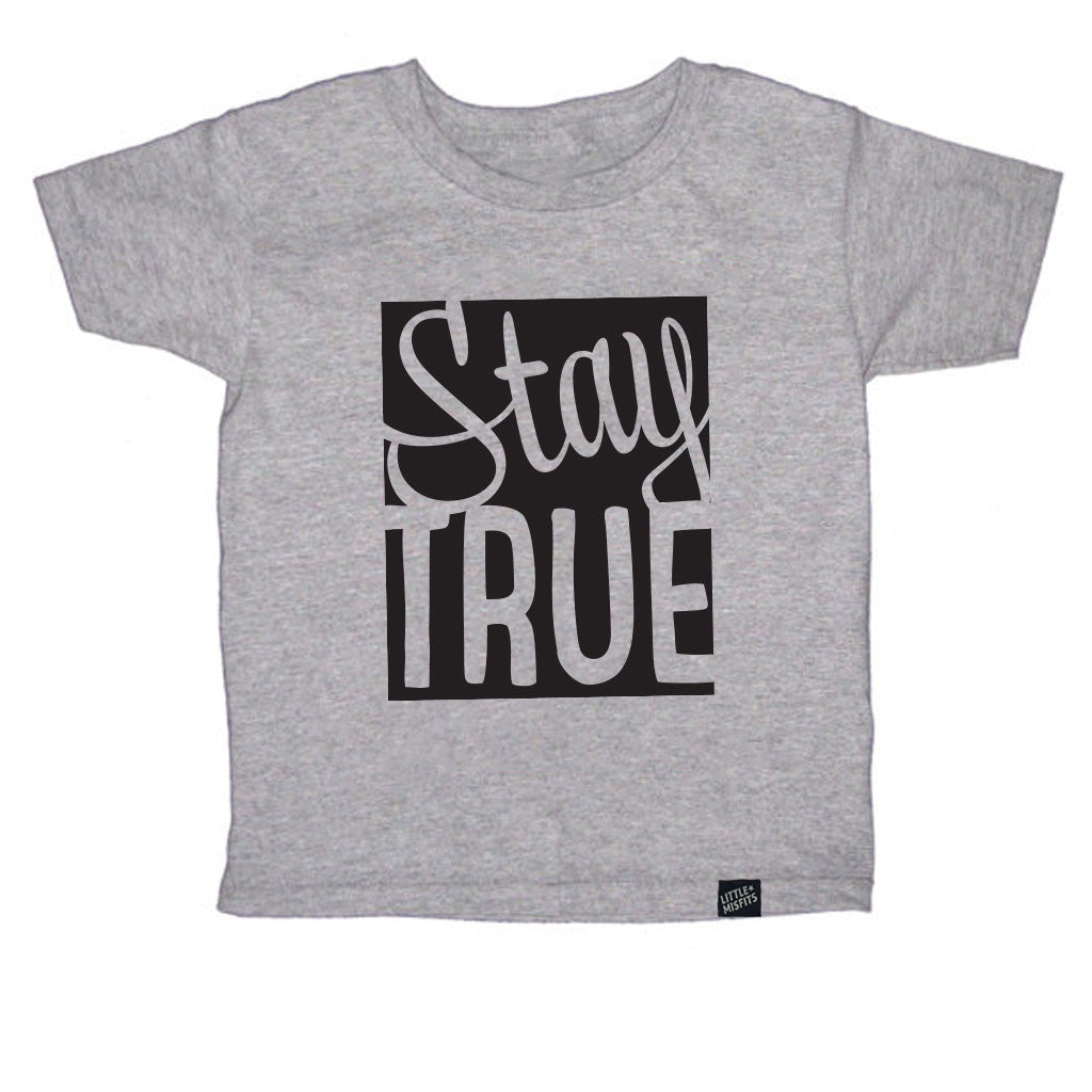 Stay True Toddler Tee - Grey-onesie-baby-Little Misfits-tattoo-sleeves-trendy-baby-clothes-for-boys-girls-toddler