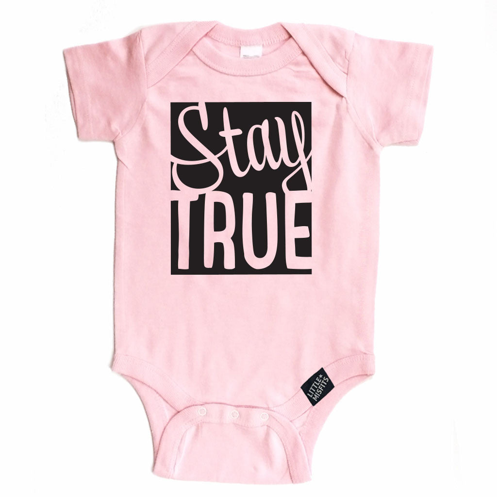Stay True Onesie - Pink-onesie-baby-Little Misfits-tattoo-sleeves-trendy-baby-clothes-for-boys-girls-toddler