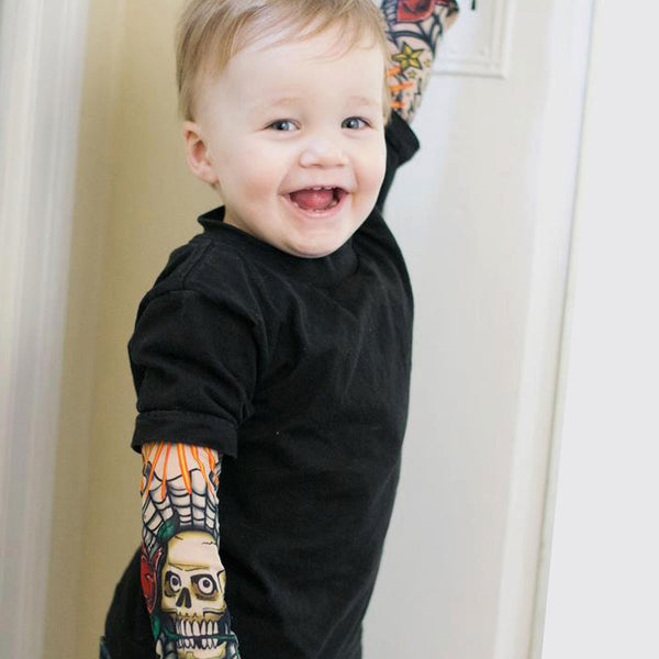 Amazing Tattoo Sleeve Kid's Tee or T-shirt (Sleeves Are Not Sewn In)-onesie-baby-Little Misfits-tattoo-sleeves-trendy-baby-clothes-for-boys-girls-toddler
