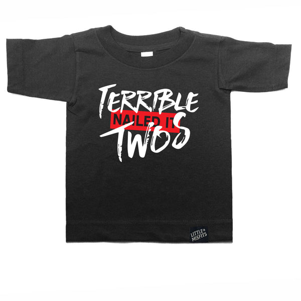 Terrible Twos - White or Black Toddler Tee - Hip Toddler T-Shirt-onesie-baby-Little Misfits-tattoo-sleeves-trendy-baby-clothes-for-boys-girls-toddler