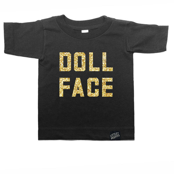 Doll Face - Sparkle / Glitter Modern Toddler T-shirt - Black or White-onesie-baby-Little Misfits-tattoo-sleeves-trendy-baby-clothes-for-boys-girls-toddler