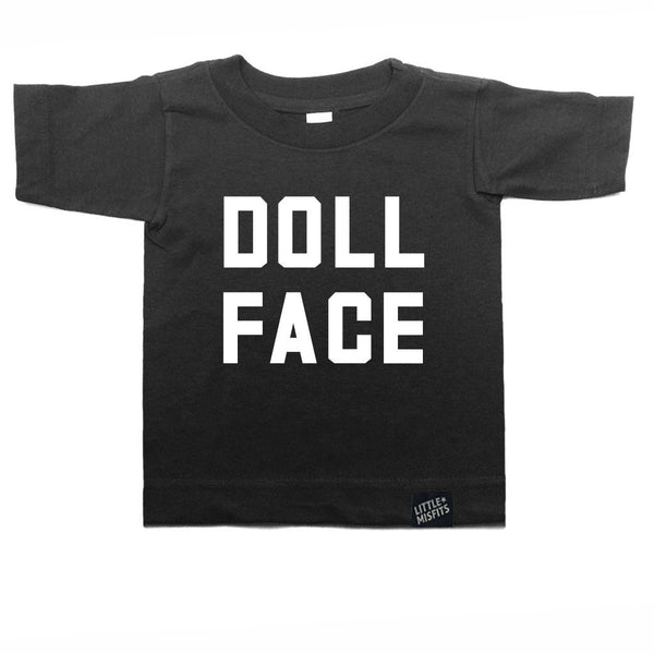 Doll Face - Monochrome Kid T-shirt - Black or White-onesie-baby-Little Misfits-tattoo-sleeves-trendy-baby-clothes-for-boys-girls-toddler