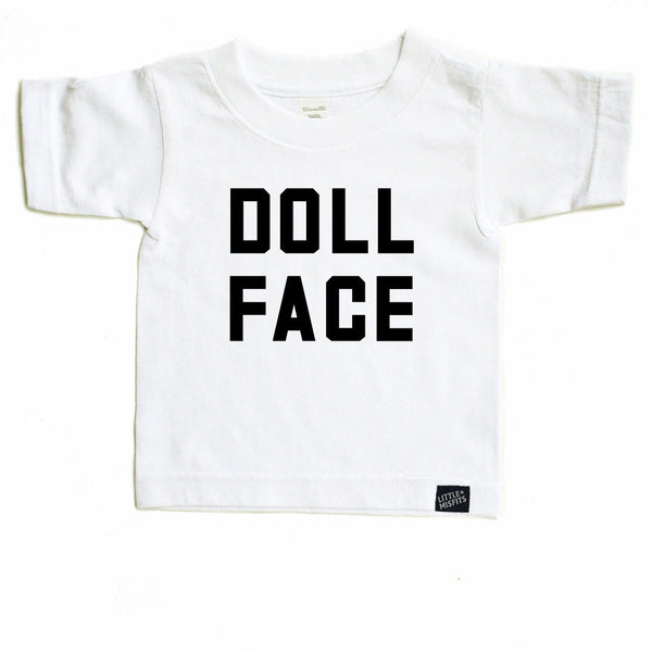 Doll Face - Monochrome Toddler T-shirt - Black or White-onesie-baby-Little Misfits-tattoo-sleeves-trendy-baby-clothes-for-boys-girls-toddler