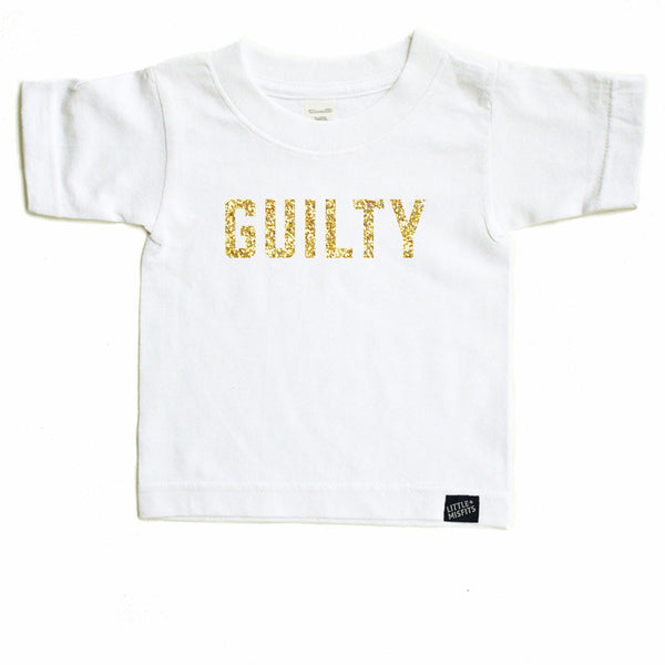 Guilty - Sparkle / Glitter Modern Toddler T-Shirt - Black or White-onesie-baby-Little Misfits-tattoo-sleeves-trendy-baby-clothes-for-boys-girls-toddler