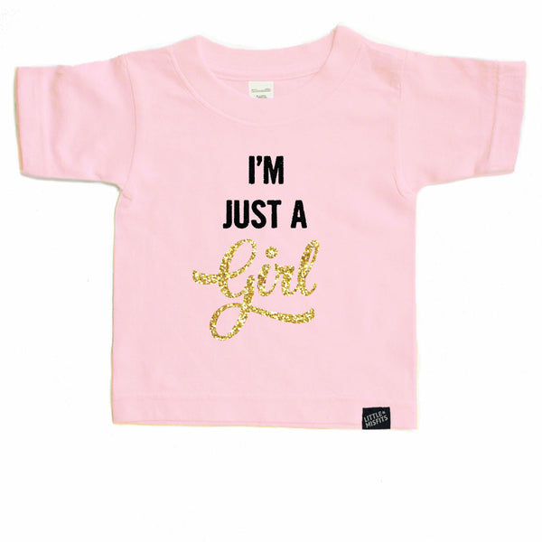 I'm Just a Girl - Glitter / Sparkle Toddler T-Shirt - Pink or Black-onesie-baby-Little Misfits-tattoo-sleeves-trendy-baby-clothes-for-boys-girls-toddler