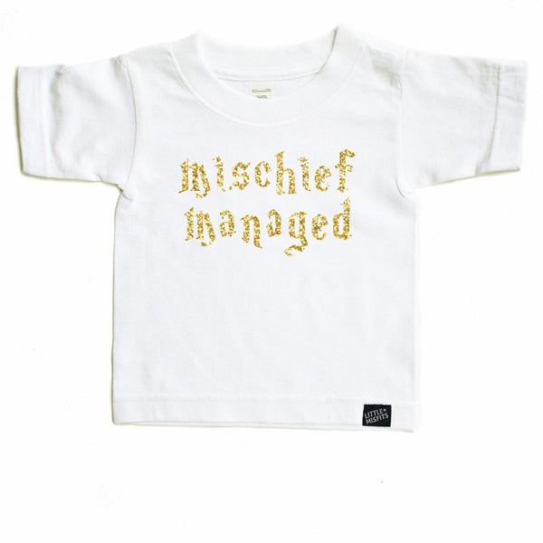Mischief Managed - Sparkle / Glitter Baby T-Shirt - Black or White-onesie-baby-Little Misfits-tattoo-sleeves-trendy-baby-clothes-for-boys-girls-toddler