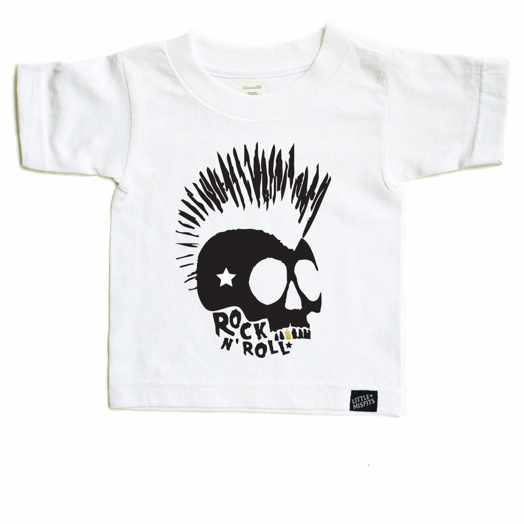 Skull Rock n Roll - Monochrome Toddler T-shirt - Black or White-onesie-baby-Little Misfits-tattoo-sleeves-trendy-baby-clothes-for-boys-girls-toddler