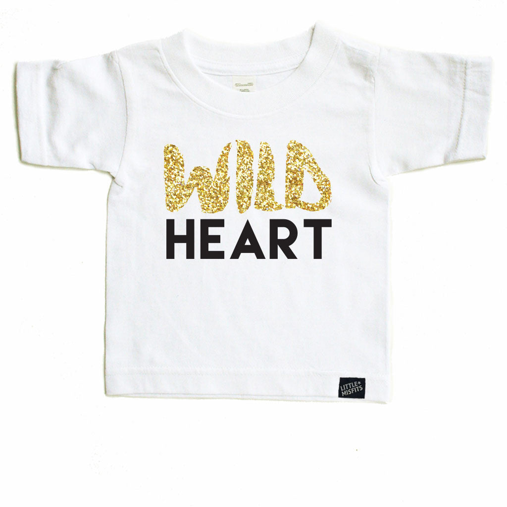 Wild Heart - Sparkle / Glitter Baby T-Shirt - Black or White-onesie-baby-Little Misfits-tattoo-sleeves-trendy-baby-clothes-for-boys-girls-toddler
