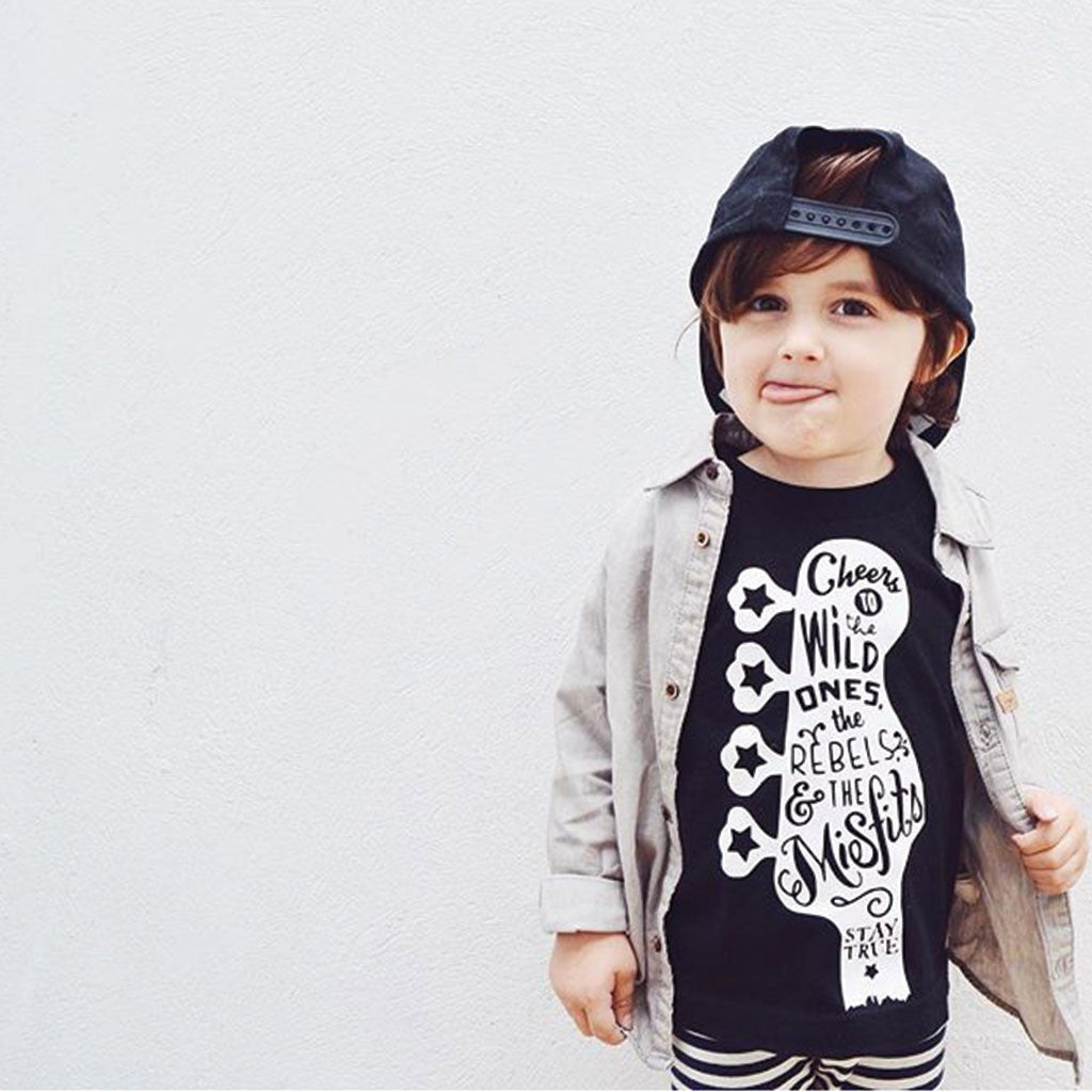 Guitar Love - Youth T-Shirt - Black Youth Tee-onesie-baby-Little Misfits-tattoo-sleeves-trendy-baby-clothes-for-boys-girls-toddler