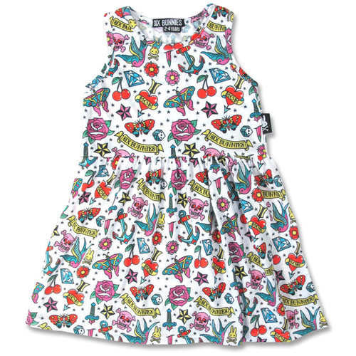 Amazing Tattoo Dress-onesie-baby-Six Bunnies-tattoo-sleeves-trendy-baby-clothes-for-boys-girls-toddler