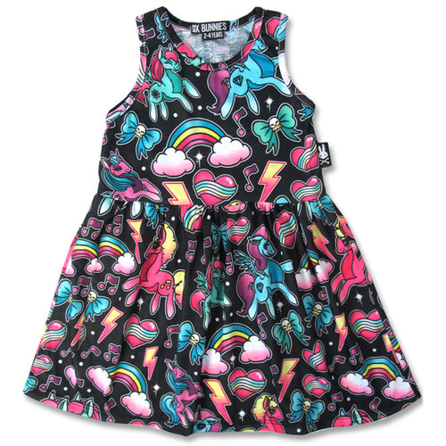 Black Unicorn Dress-onesie-baby-Six Bunnies-tattoo-sleeves-trendy-baby-clothes-for-boys-girls-toddler