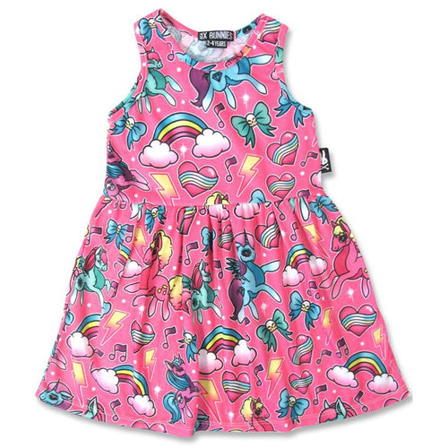 Pink Unicorn Dress-onesie-baby-Six Bunnies-tattoo-sleeves-trendy-baby-clothes-for-boys-girls-toddler