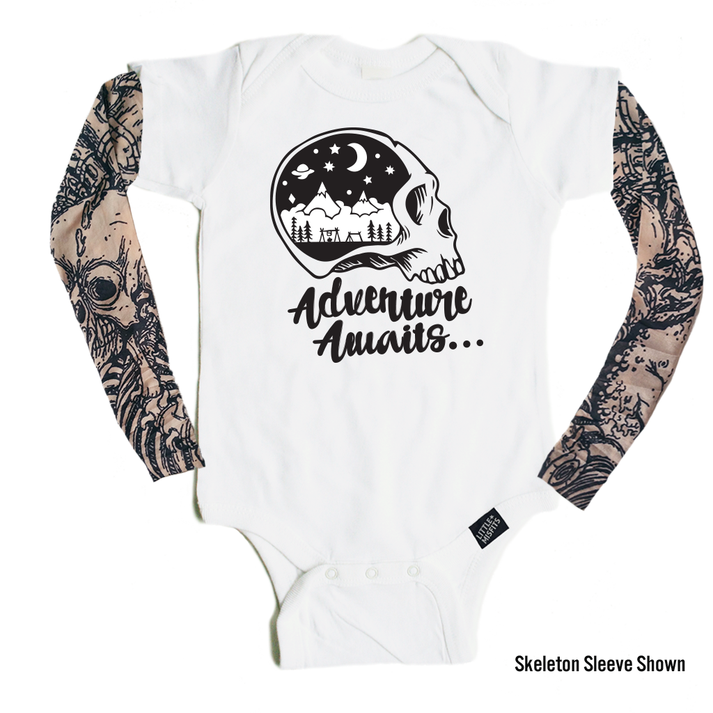 Adventure Awaits Skull - Tattoo Sleeve Baby Onesie-onesie-baby-Little Misfits-tattoo-sleeves-trendy-baby-clothes-for-boys-girls-toddler