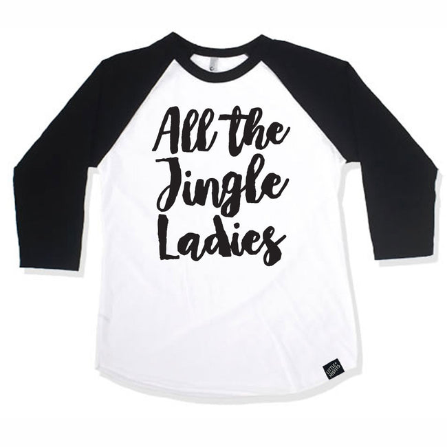 All The Jingle Ladies Baby Girl Raglan-onesie-baby-Little Misfits Black Friday Only-tattoo-sleeves-trendy-baby-clothes-for-boys-girls-toddler