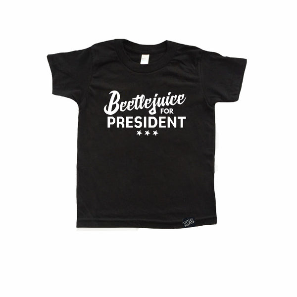 Beetlejuice for President Kid's Halloween T-Shirt-onesie-baby-Little Misfits-tattoo-sleeves-trendy-baby-clothes-for-boys-girls-toddler
