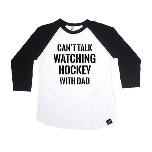 Can't Talk Watching Hockey With Dad - Baby or Kids Baseball Shirt-onesie-baby-Little Misfits-tattoo-sleeves-trendy-baby-clothes-for-boys-girls-toddler