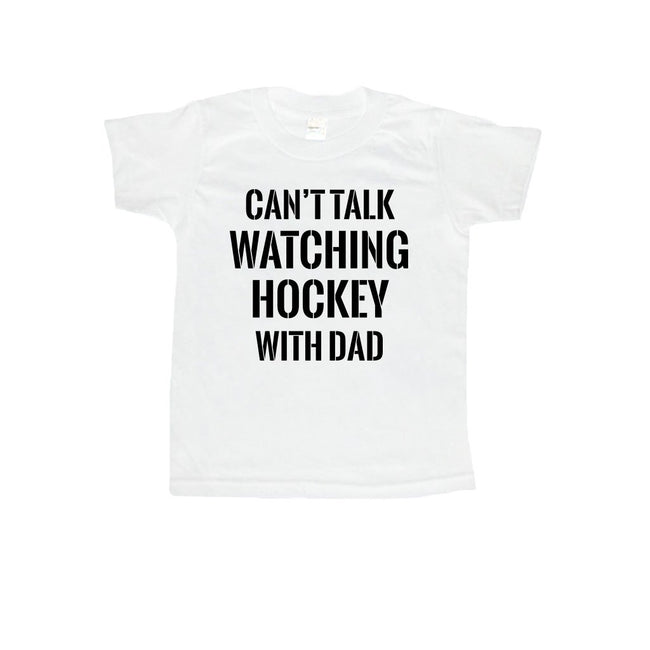 Can't Talk Watching Hockey With Dad Toddler or Kids Shirt-onesie-baby-Little Misfits-tattoo-sleeves-trendy-baby-clothes-for-boys-girls-toddler