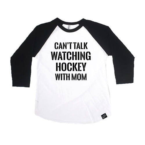 Can't Talk Watching Hockey With Mom - Baby or Kids Baseball Shirt-onesie-baby-Little Misfits-tattoo-sleeves-trendy-baby-clothes-for-boys-girls-toddler