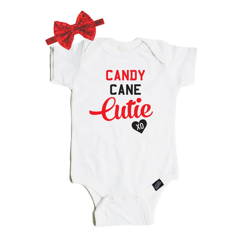 Candy Cane Cutie Baby Bodysuit + Headband-onesie-baby-Little Misfits-tattoo-sleeves-trendy-baby-clothes-for-boys-girls-toddler
