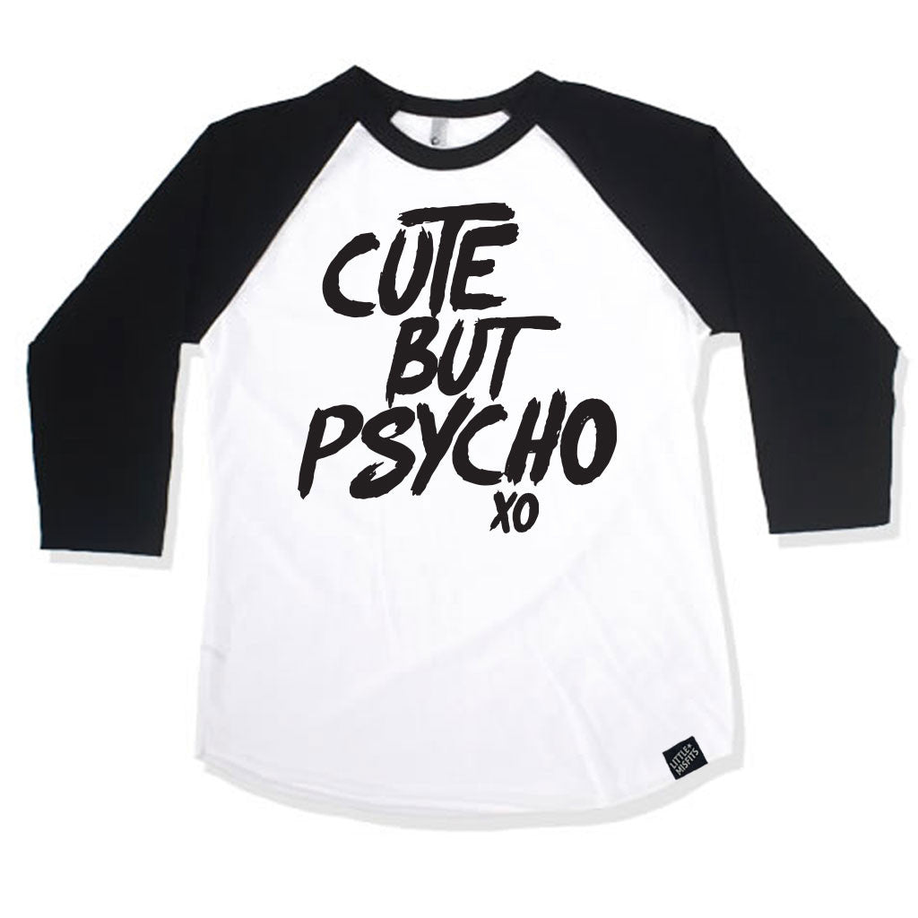 Cute But Psycho 3/4 Sleeve Raglan-onesie-baby-Little Misfits-tattoo-sleeves-trendy-baby-clothes-for-boys-girls-toddler