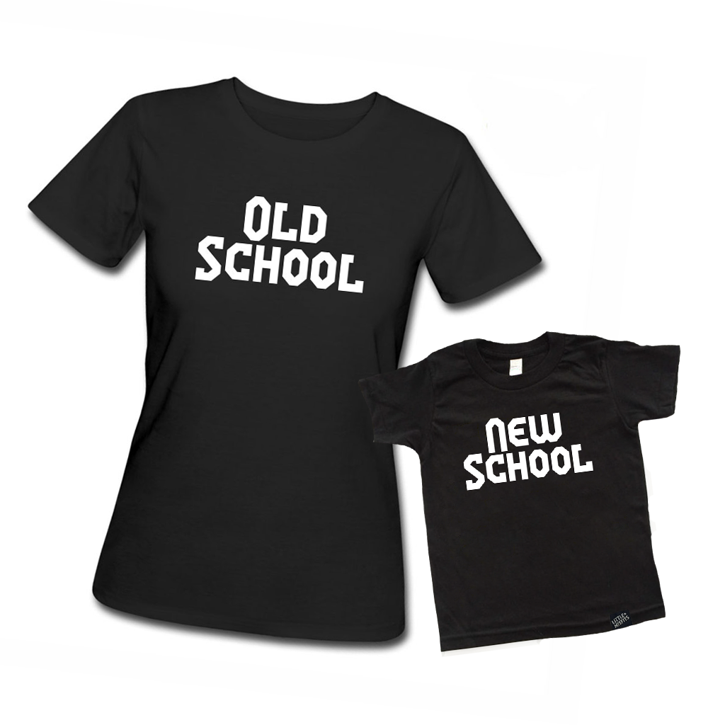 Old School vs New School Adult T-shirt and Kid's T-shirt Set-onesie-baby-Little Misfits-tattoo-sleeves-trendy-baby-clothes-for-boys-girls-toddler
