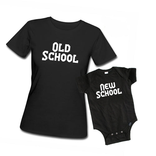Old School vs New School Adult T-shirt and Kid's Onesie Set - Mommy and Me Set-onesie-baby-Little Misfits-tattoo-sleeves-trendy-baby-clothes-for-boys-girls-toddler