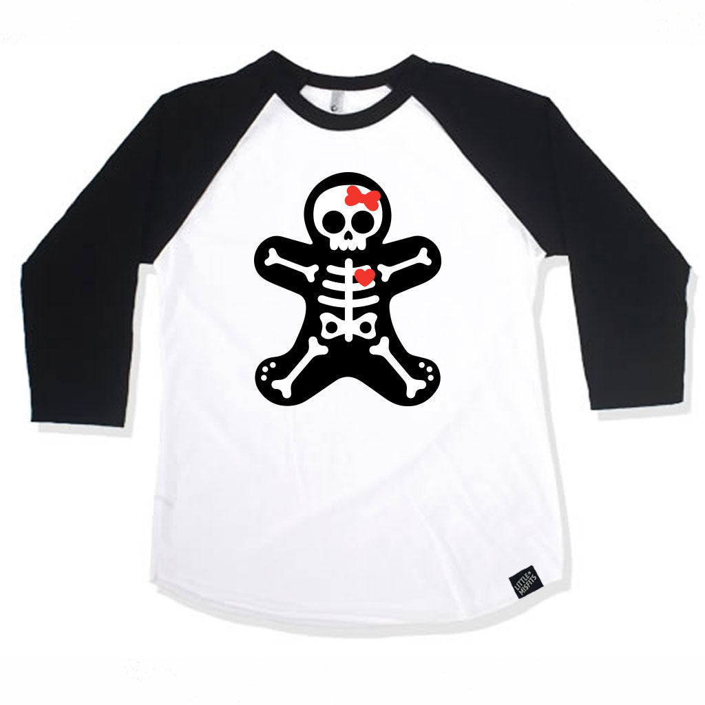 Gingerbread Skeleton Baby / Kid Raglan (Girls)-onesie-baby-Little Misfits-tattoo-sleeves-trendy-baby-clothes-for-boys-girls-toddler