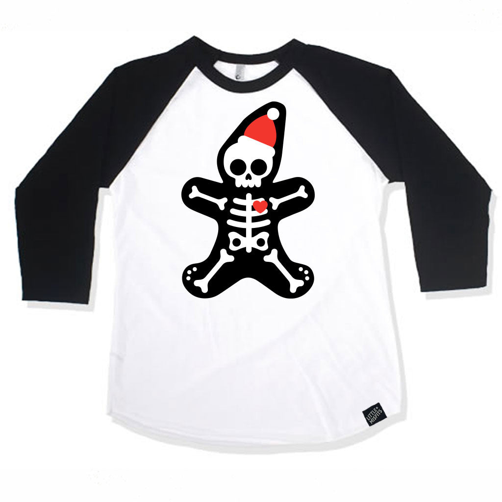 Gingerbread Skeleton Baby / Kid Raglan (Unisex)-onesie-baby-Little Misfits-tattoo-sleeves-trendy-baby-clothes-for-boys-girls-toddler