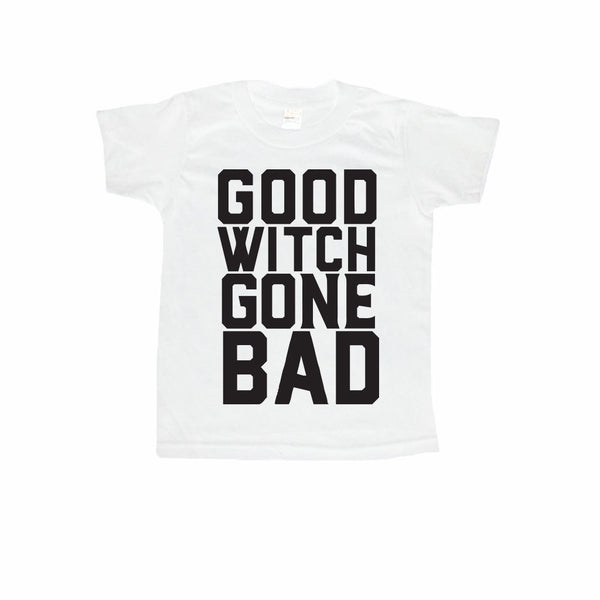 Good Witch Gone Bad Kids Halloween T-Shirt-onesie-baby-Little Misfits-tattoo-sleeves-trendy-baby-clothes-for-boys-girls-toddler