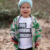 Good Morning Gorgeous - Kid T-shirt - Grey-onesie-baby-Little Misfits-tattoo-sleeves-trendy-baby-clothes-for-boys-girls-toddler